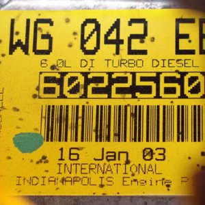 Engine Build Date Sticker