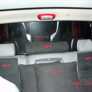 The new custom interior back seat with throw pillows to match